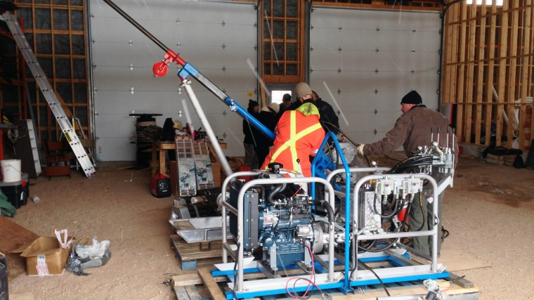 Researchers drilling boreholes in the Bedrock Aquifer Field Facility