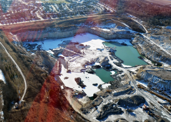 aerial view of sediment ponds from mining