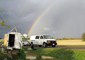 packer testing setup under a beautiful rainbow