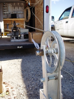 Packer testing equipment pulley and winch